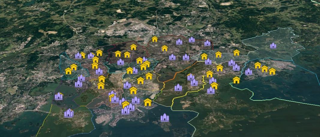Helsingin Seurakunnat Ja Tilat Kartalla