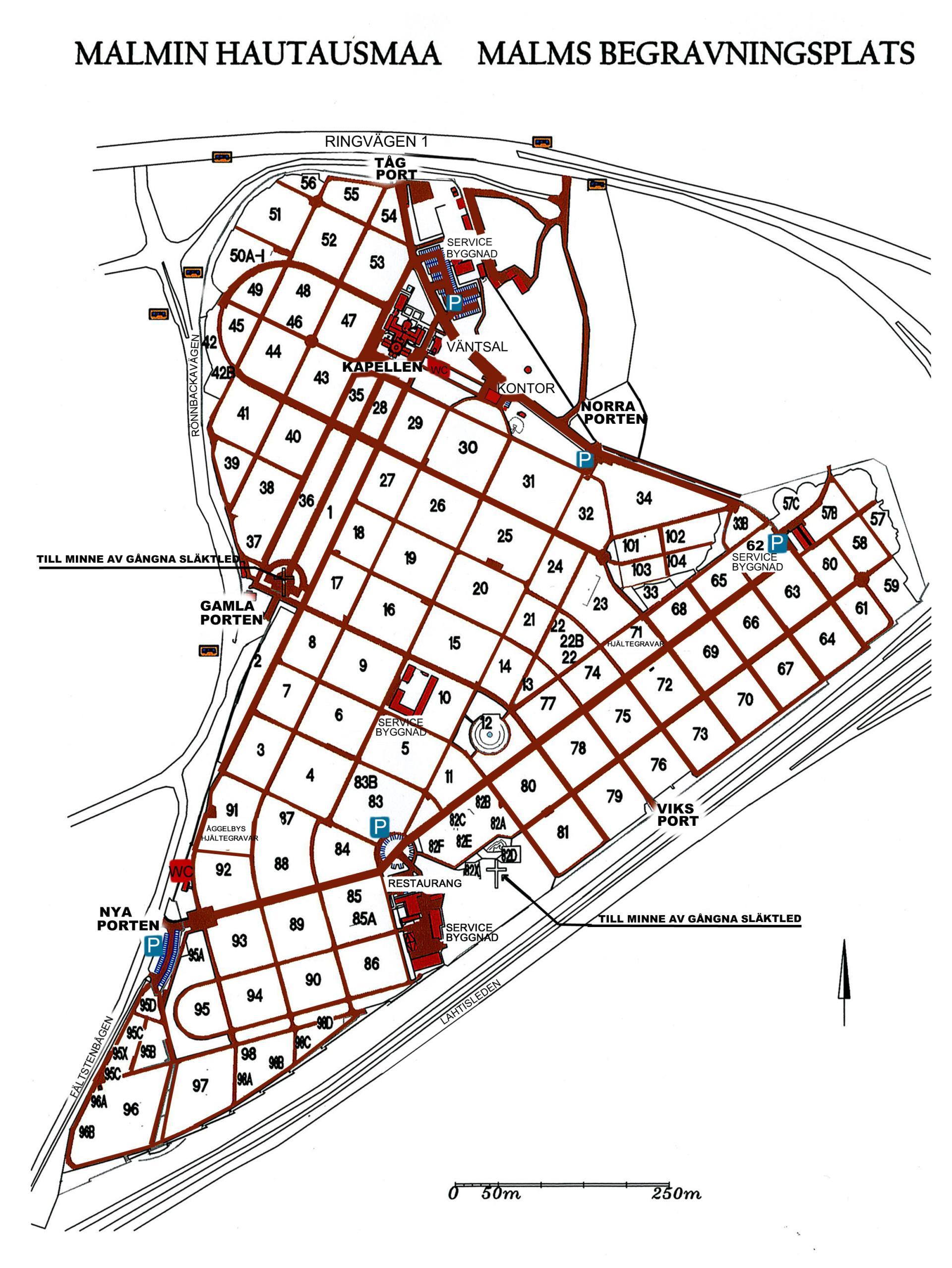 Kartta Malmin Hautausmaa Kartta