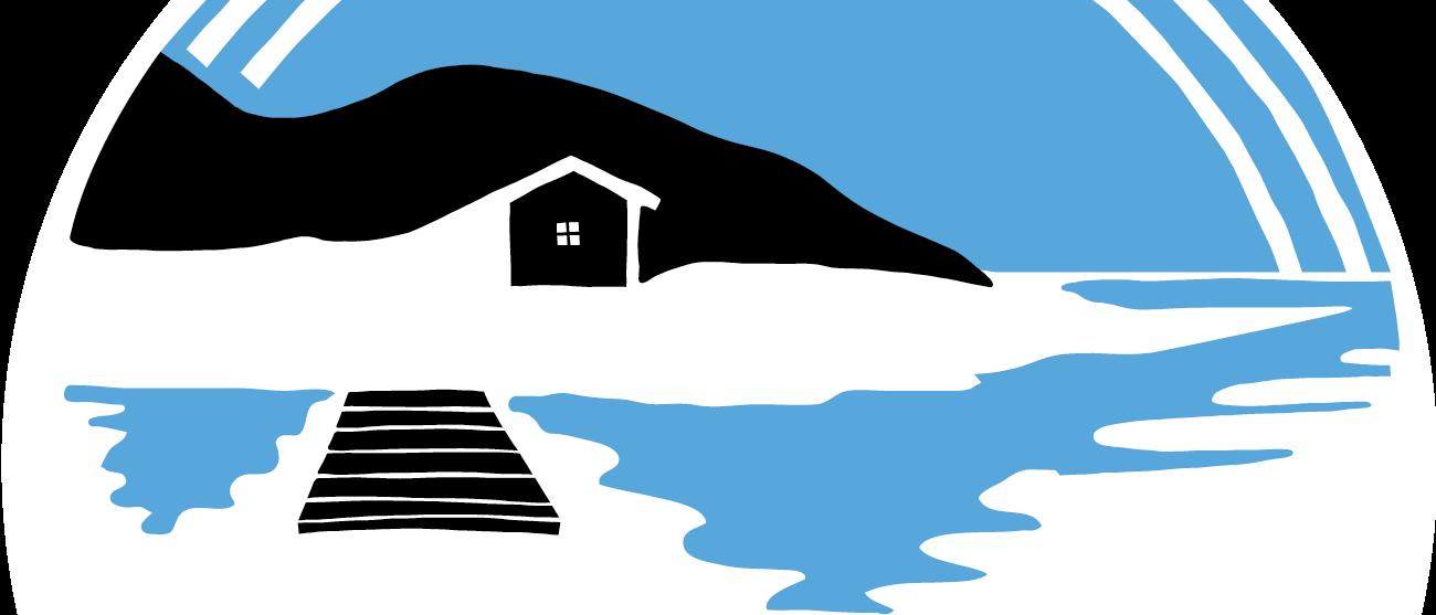 Del av Lekholmens tecknade logo. En stuga på en strand, en brygga i svart och blått.
